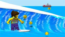 Surfing while collecting LEGO pieces