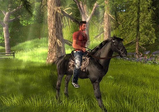 Riding an Arion horse in Second Life