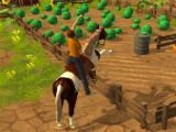 Horse facing a vegetable garden in Horse Simulator