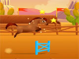 Pixie the Pony jumping through hurdles