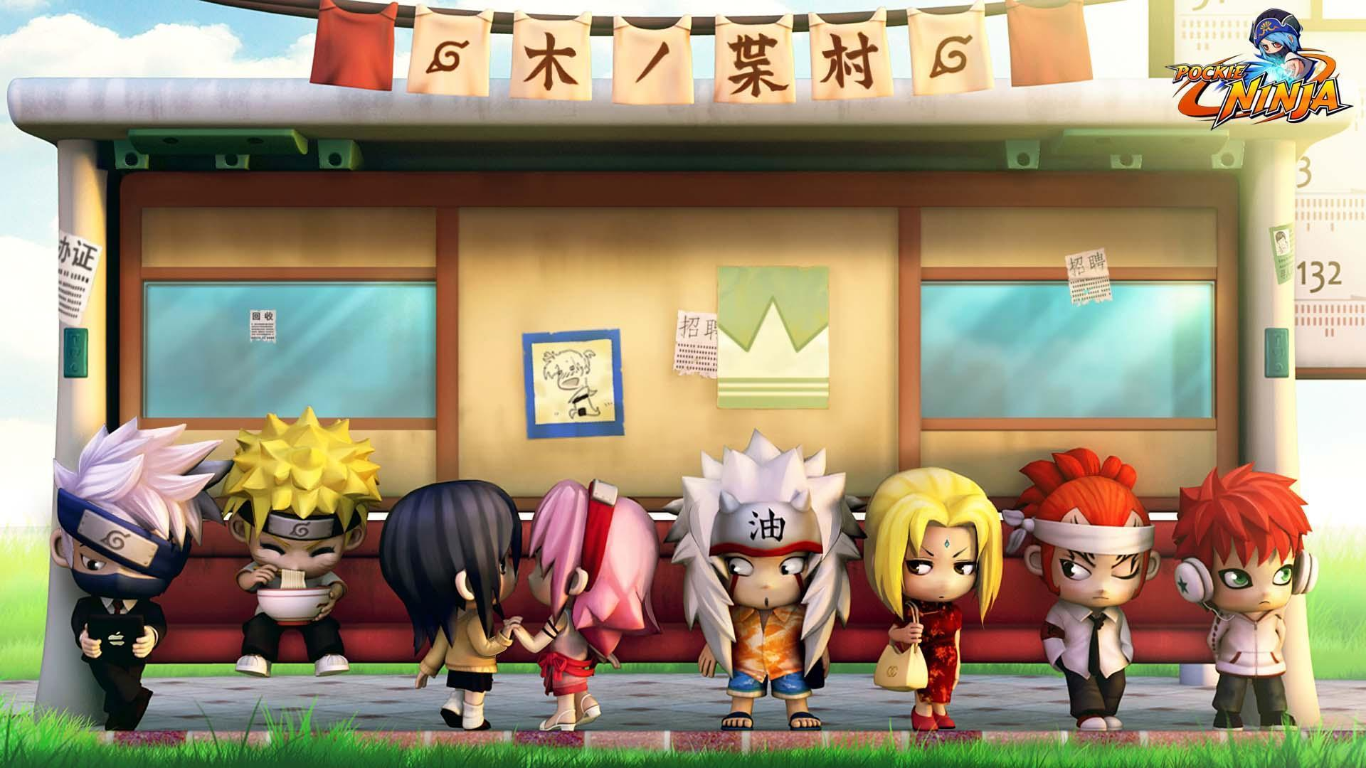 Pokie Ninja Characters Wait For A Bus