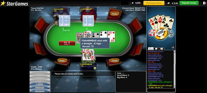 Winning a straight in Texas Hold'Em