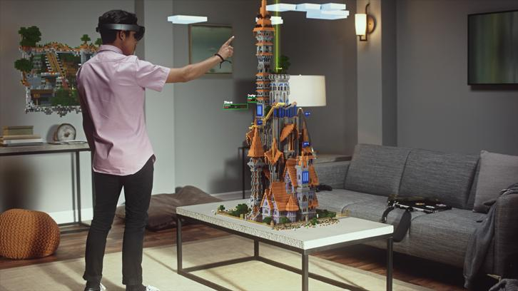 Playing Minecraft with Microsoft's Hololens