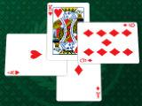 Play three cards Hearts Queen of Hearts