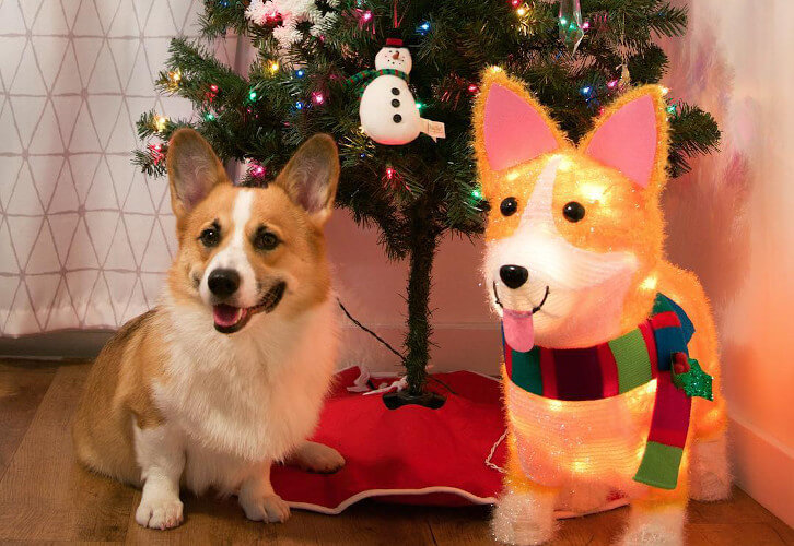 Christmas Incandescent Tinsel Corgi Dog Novelty Sculpture