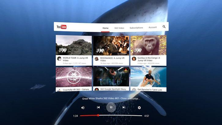 Watching YouTube videos via Daydream