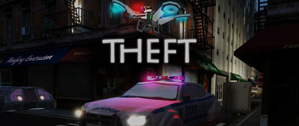Theft - Run as fast as you can to escape from the police drone in this intense runner game, Theft!