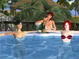 Hanging out at the pool in Twinity