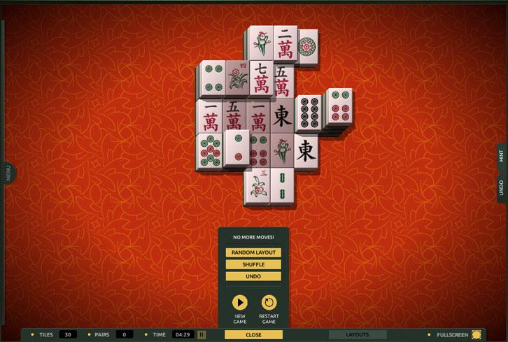Ran out of moves in TheMahjong.com
