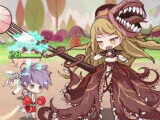 Fighting a powerful monster in Food Fantasy