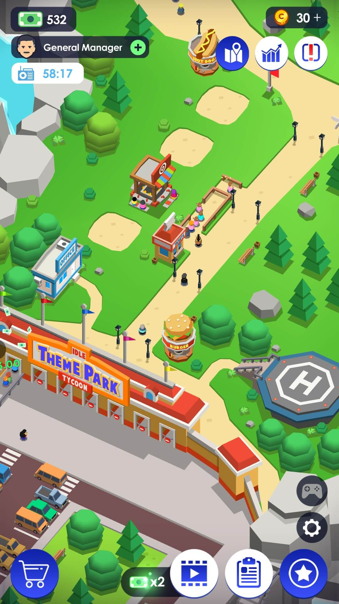 Idle Theme Park Tycoon - Recreation Game - Virtual Worlds Land!