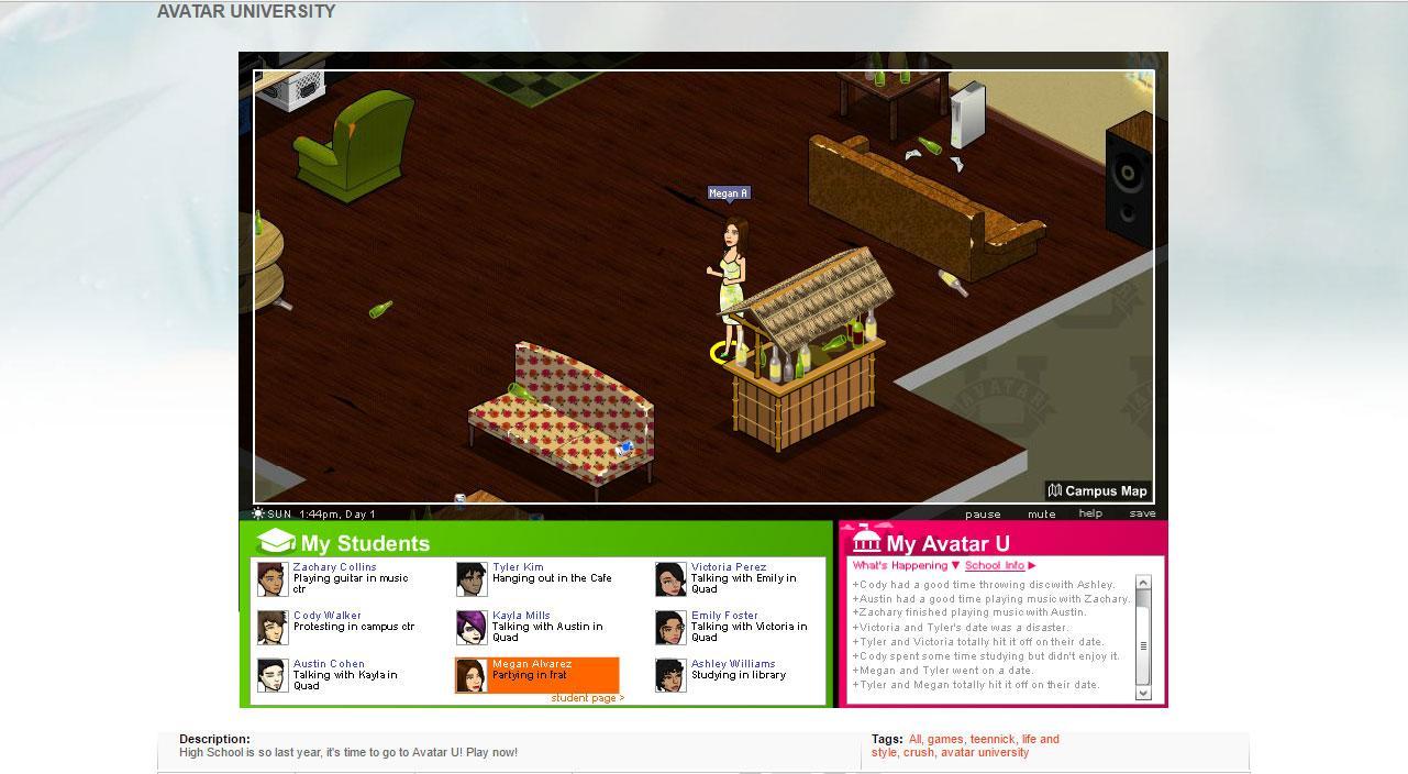 Teen Nick Avatar University - Virtual Worlds Land!
