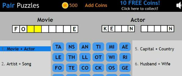 Pair Puzzles - Find the missing letters based on a pair of clues. Earn coins every time you solve a level. Get hints when you're stuck.