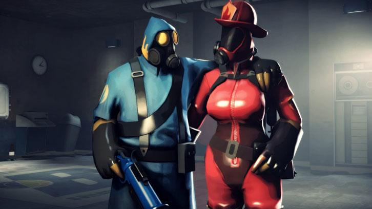Mr and Mrs Pyro from a modded Team Fortress 2