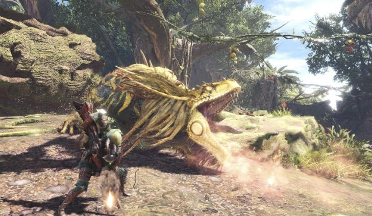 Fighting a Great Jargas in Monster Hunter World