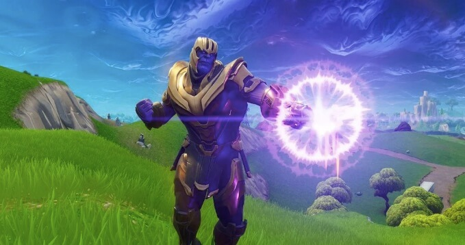 Thanos using a laser blast in Fortnite