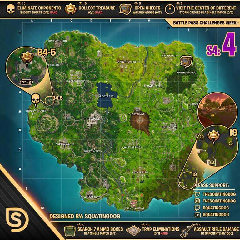 Fortnite Season 4 Week 4 Battle Pass Cheat Sheet