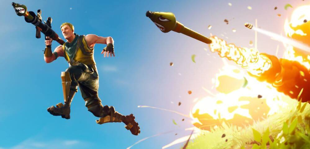 Launching rockets in Fortnite