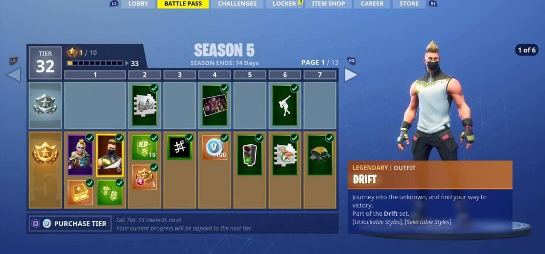 Fortnite's season 5 battle pass