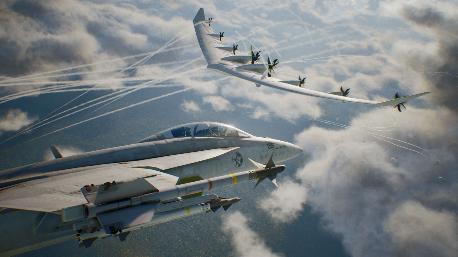 Super Hornet and the Arsenal Bird in Ace Combat 7: Skies Unknown