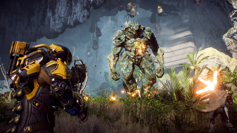 Fighting a giant monster in Anthem