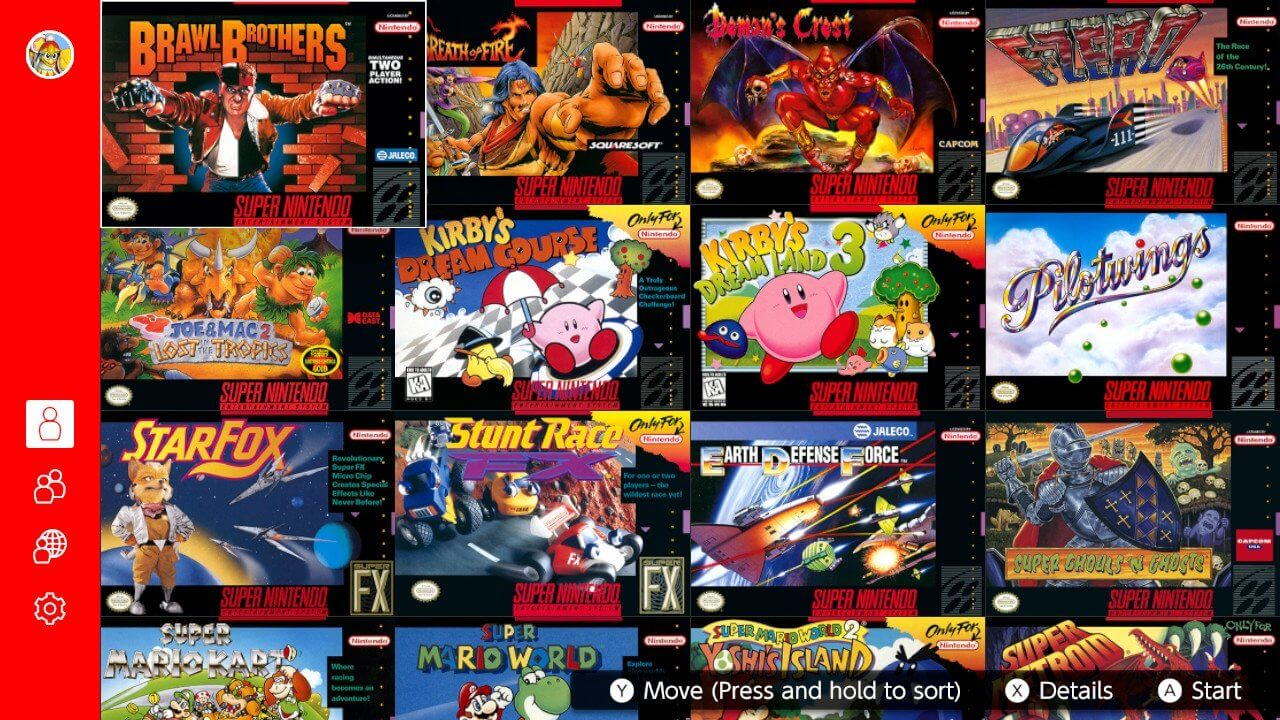 NSO's SNES library