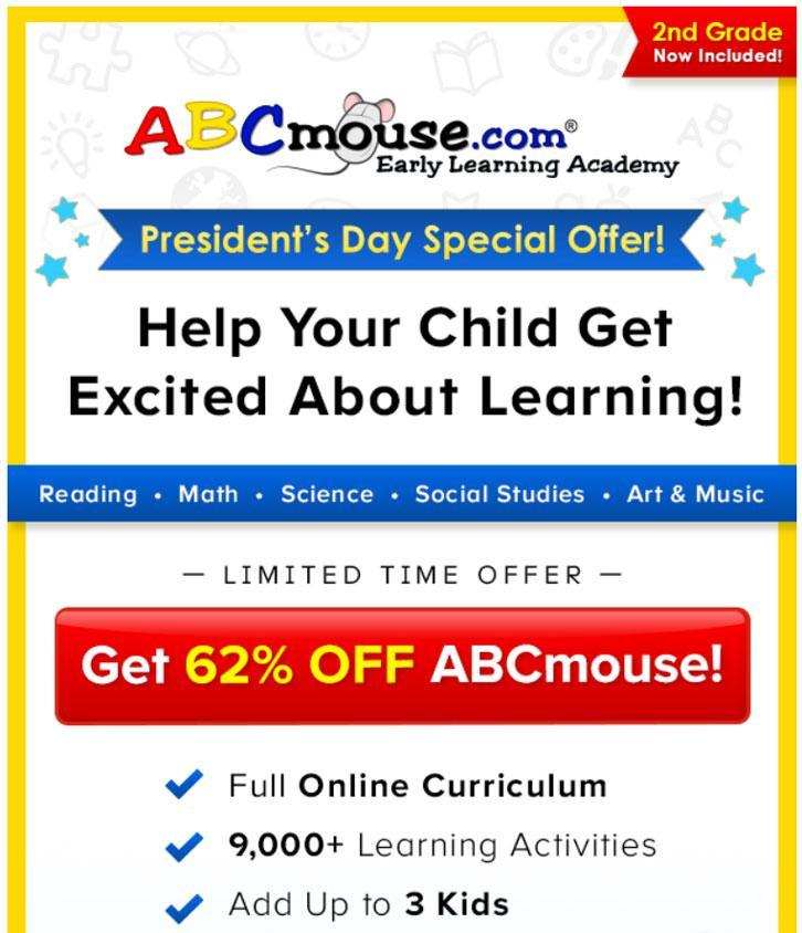 62% discount off ABCmouse