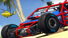 A car and a surveillance helicopter in TrackMania Turbo