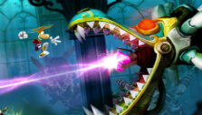 Fighting a dragon boss in Rayman Legends
