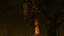 Dead cows hung on a tree in Dead by Daylight