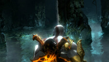 Kratos in a cave in God of War III Remastered