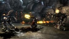 Kratos fighting skeletons in God of War III Remastered