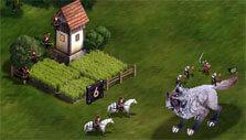 Battling a dire wolf in King of Avalon: Dragon Warfare
