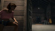 Hiding while Jason faces off with other counselors