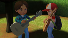 Jamming on the guitar in Adventure Academy