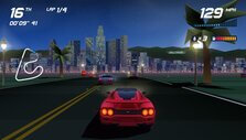 Racing at night in Los Angeles in Horizon Chase Turbo