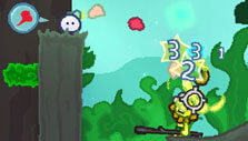 Attacking enemies with your gumgum gun in Wuppo