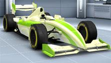 United GP: Light yellow and green car