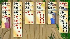 Hearts are in pink and spades are in blue in Forty Thieves Solitaire Gold