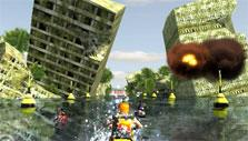 Jet Ski Racer: Collapsing buildings