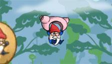 Geki Yaba Runner: Flying around using knickers
