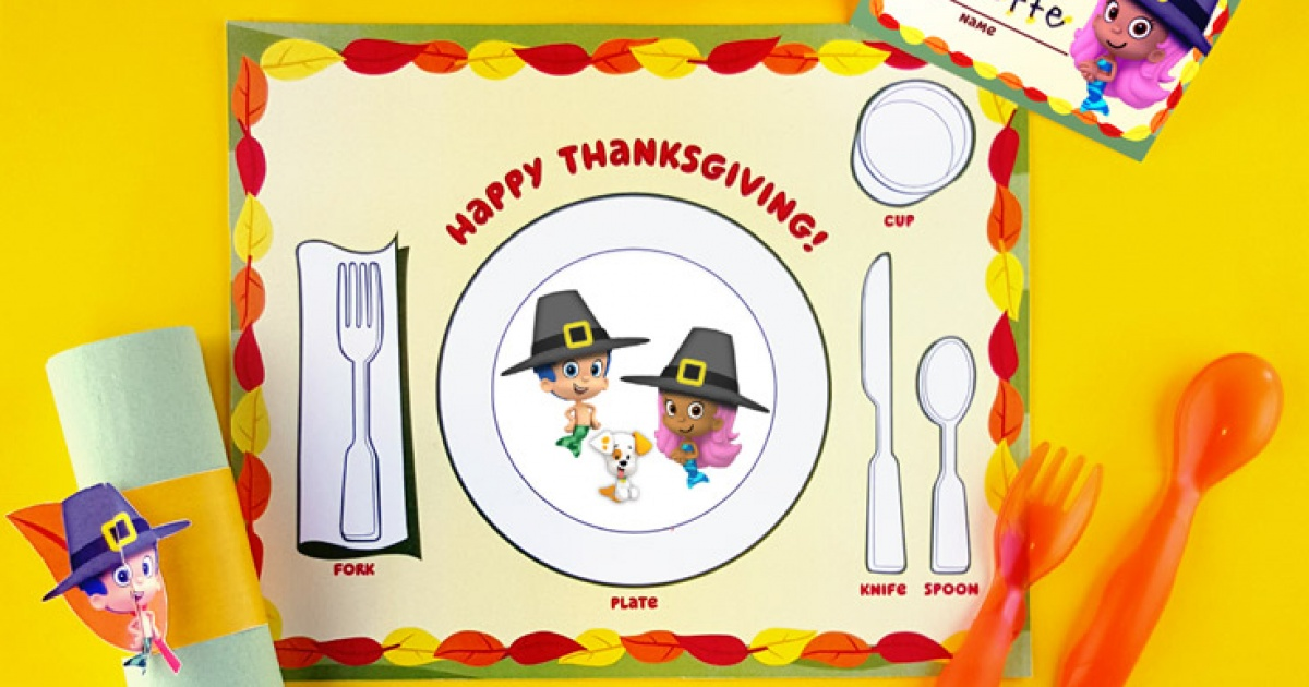 Bubble Guppies Thanksgiving Table Setting Pack