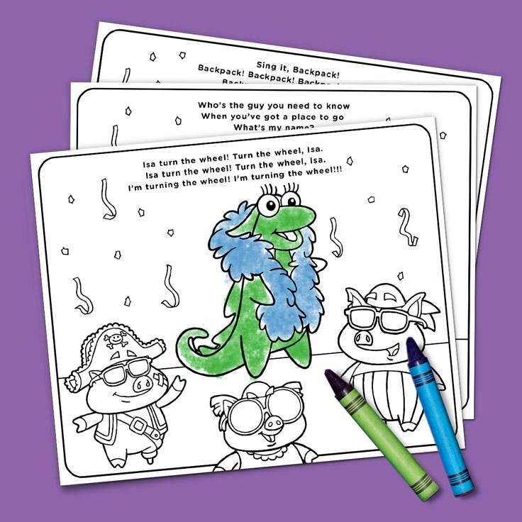 Dora Rocks Coloring Song Sheets