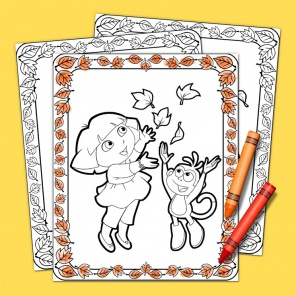 Thanksgiving Coloring with Dora