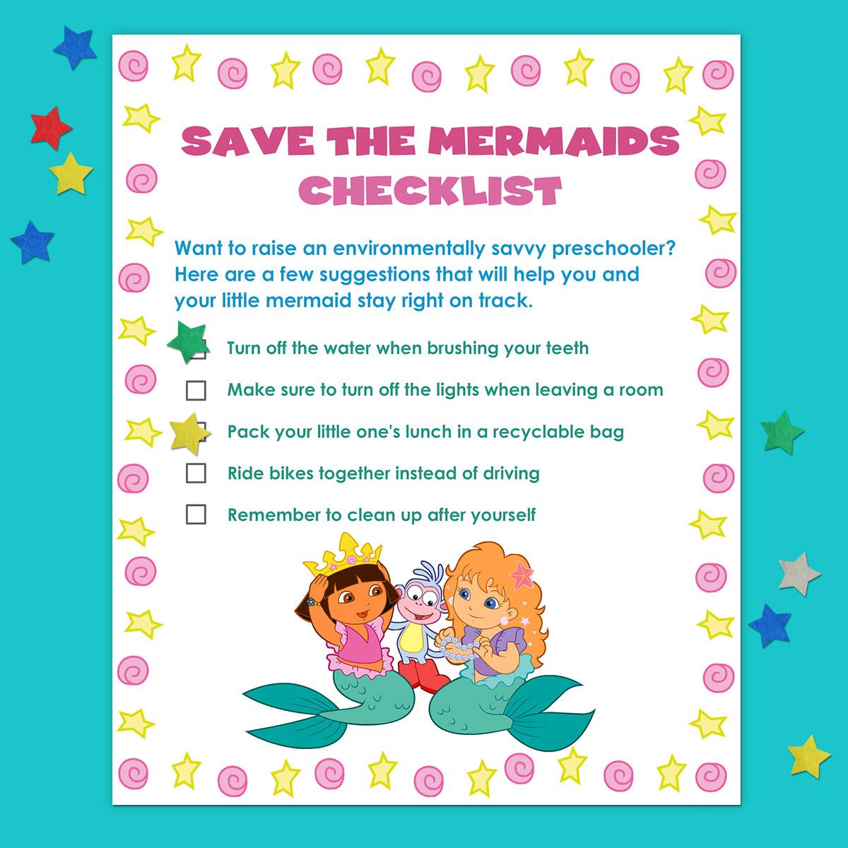 Dora Eco-Friendly Activities Chart