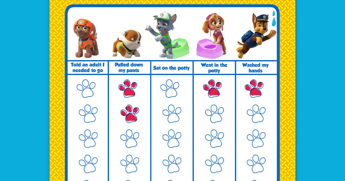 Paw Patrol Potty Training Chart Nickelodeon Parents
