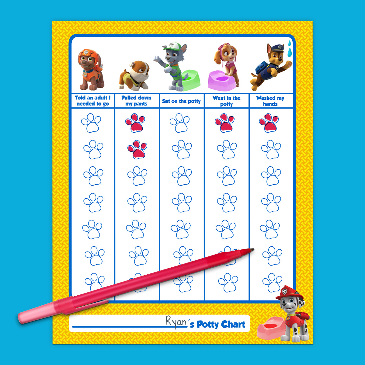 image about Printable Potty Charts for Toddlers known as PAW Patrol Potty Doing exercises Chart Nickelodeon Mothers and fathers
