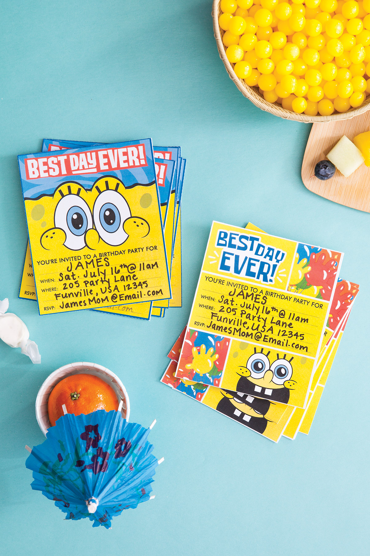 SpongeBob Best Day Ever Party Invitations