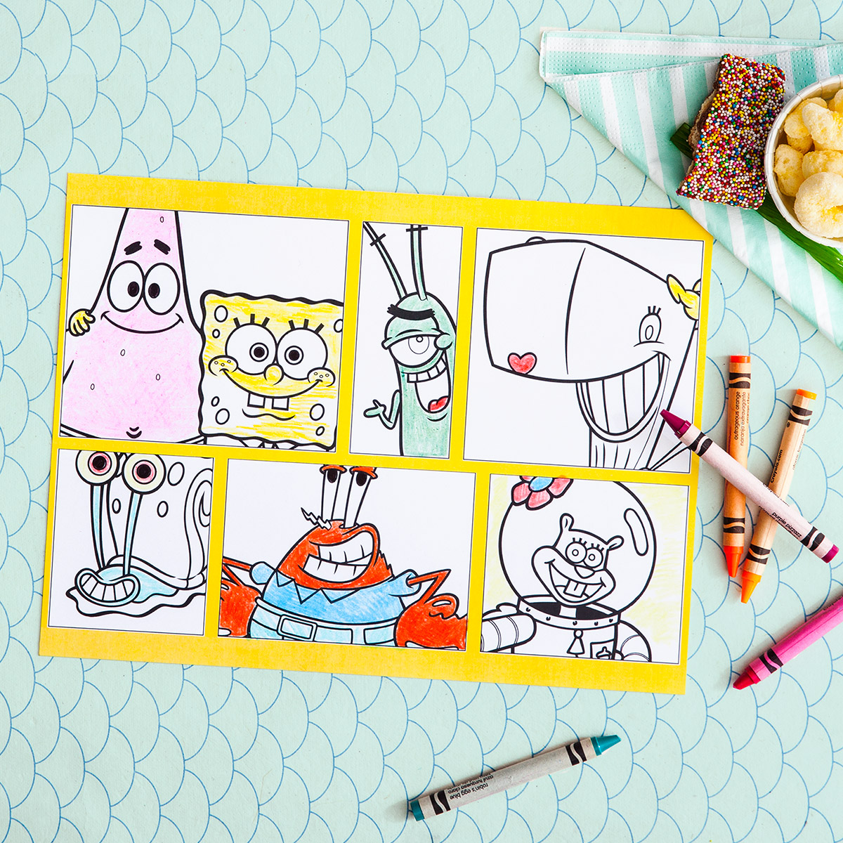 SaveSave To Pinterest SpongeBob Printable Party Placemats