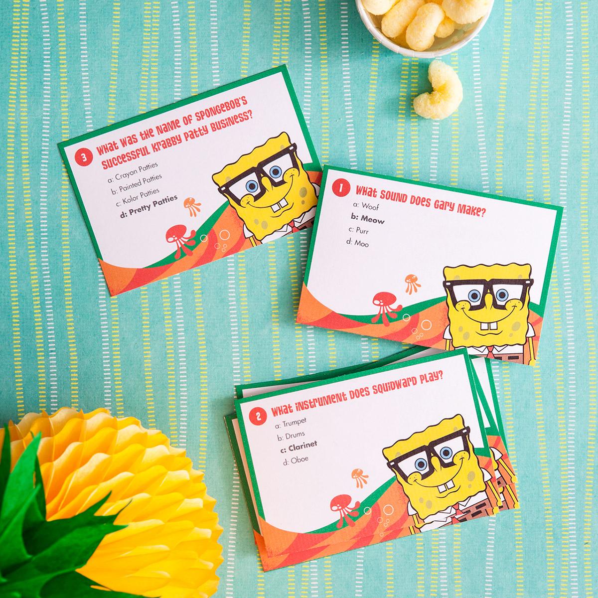 SaveSave To Pinterest SpongeBob Printable Trivia Cards